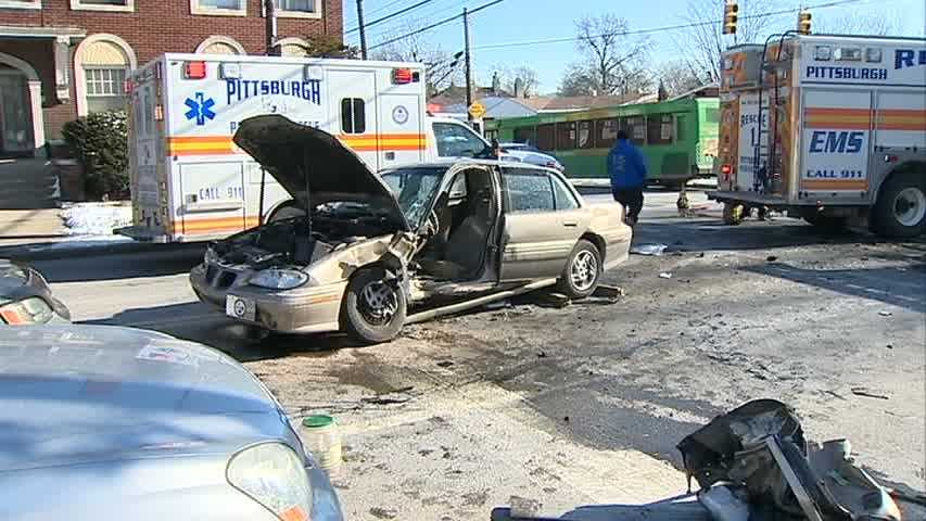 Two cars were badly damaged in the crash at South Dallas and Penn avenues.