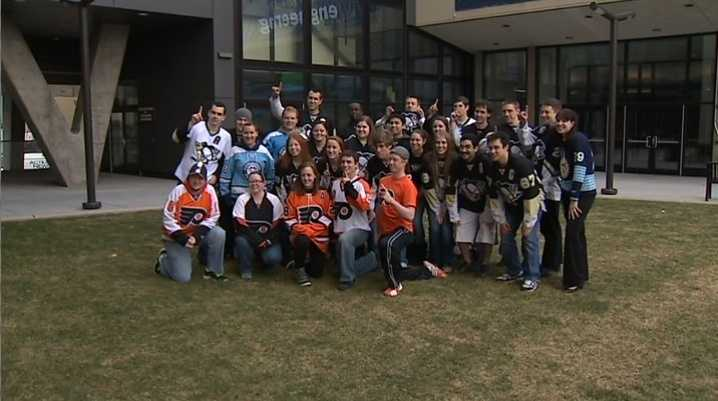 Students enrolled in Pitt's Swanson School of Engineering held a team jersey challenge to help solve the Penguins/Flyers rivalry.