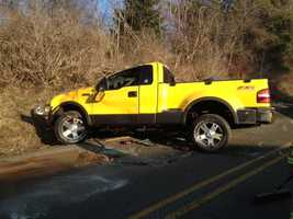 A truck suffered heavy damage in a crash on Robbins Station Road in North Huntingdon, Westmoreland County.