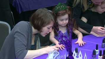 """Disney On Ice performers served as the girls' """"fairy godmothers,"""" walking them through the steps of becoming a princess."""