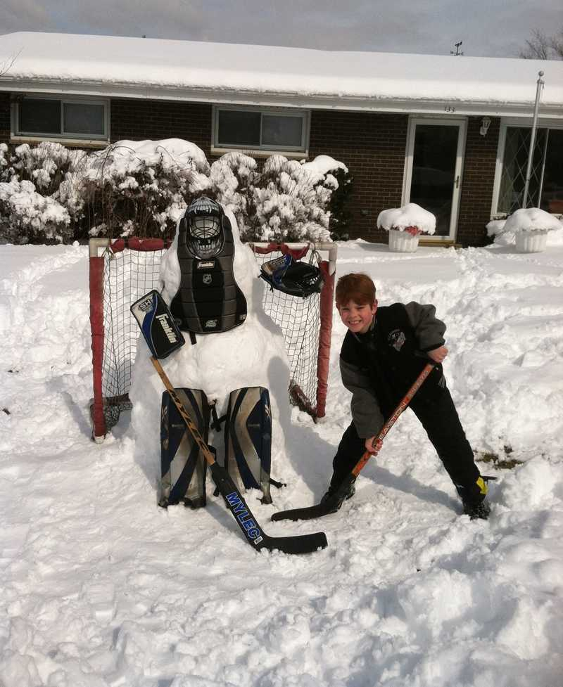 """Frosty the Goalie"" in Delmont."