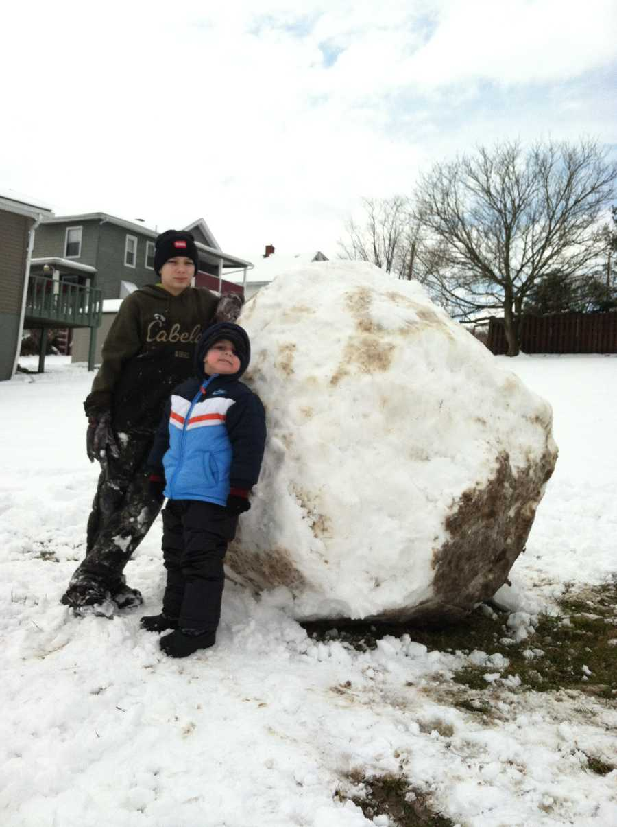 Jen Steiner's son and oldest nephew built a giant snowball in Youngwood.