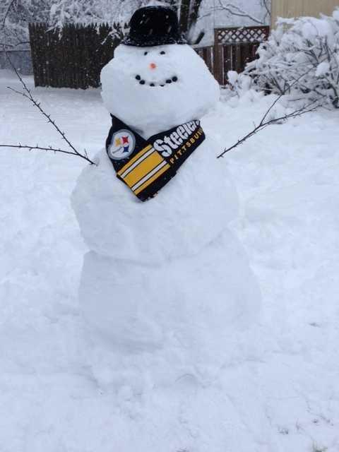 Steelers snowman in Penn Hills.