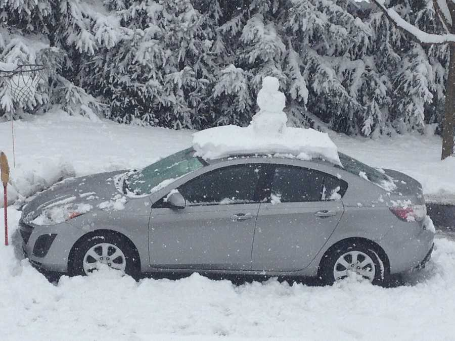 Jocelyn woke up and found out that her little brother built a snowman on her car in Latrobe.