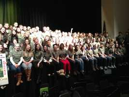 A third of the Plum student body won T-shirts with anti-violence messages on them.