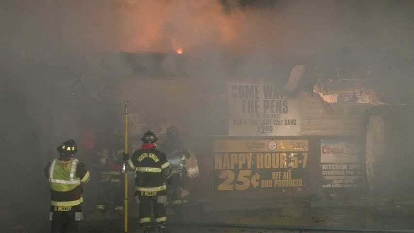 The fire destroyed the bar on McClellandtown Road in South Union Township, Fayette County.