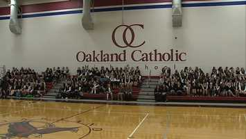 Action Sports' John Meyer visited Oakland Catholic High School to honor senior swimmer Leah Smith as Clearview Federal Credit Union Student-Athlete of the Week.