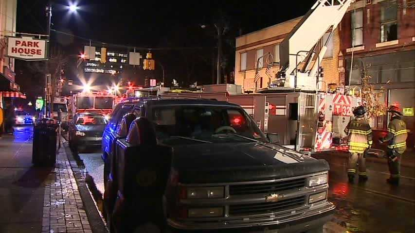 Battalion Chief Larry Yakich said there was heavy smoke coming from the third floor of the building on East Ohio Street, across the street from the Park House bar, but firefighters had difficulty getting to it.