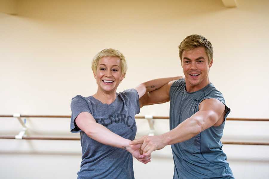 """DANCING WITH THE STARS - REHEARSALS - Kellie Pickler & Derek Hough - This season's dynamic lineup of stars will perform for the first time on live national television with their professional partners during the two-hour season premiere of """"Dancing with the Stars,"""" Monday, March 18th @ 8pm. (ABC/Rick Rowell)"""