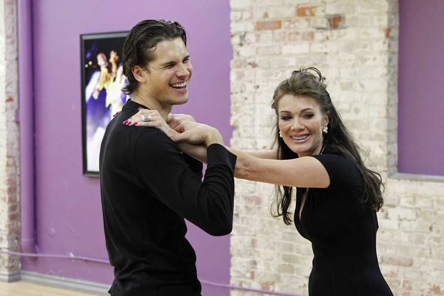 """DANCING WITH THE STARS - REHEARSALS - Gleb Savchenko & Lisa Vanderpump - This season's dynamic lineup of stars will perform for the first time on live national television with their professional partners during the two-hour season premiere of """"Dancing with the Stars,"""" Monday, March 18th @ 8pm. (ABC/Rick Rowell)"""