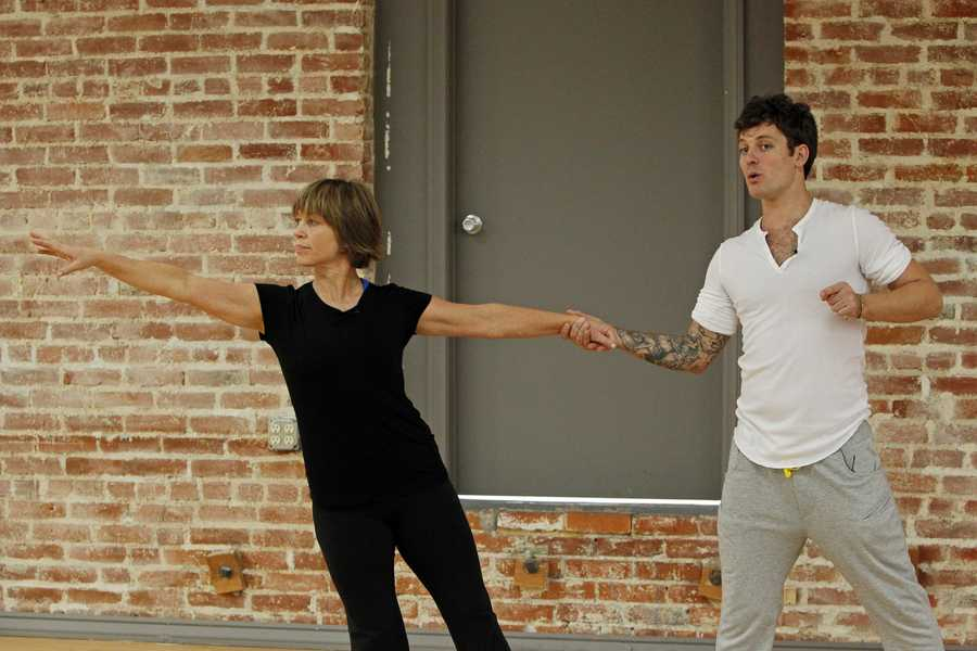 """DANCING WITH THE STARS - REHEARSALS - Dorothy Hamill & Tristan Macmanus - This season's dynamic lineup of stars will perform for the first time on live national television with their professional partners during the two-hour season premiere of """"Dancing with the Stars,"""" Monday, March 18th @ 8pm. (ABC/Rick Rowell)"""