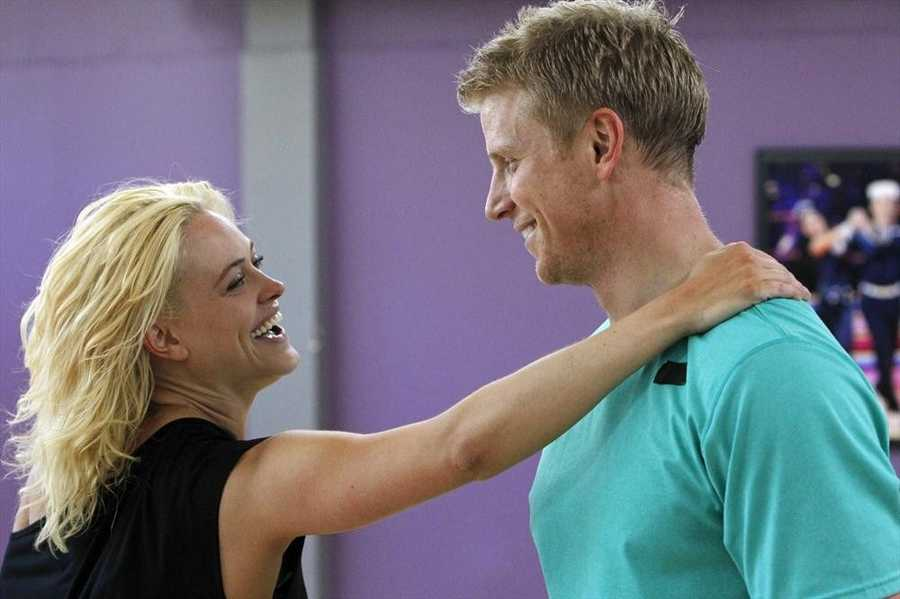 """DANCING WITH THE STARS - REHEARSALS - Petra Murgatryod & Sean Lowe - This season's dynamic lineup of stars will perform for the first time on live national television with their professional partners during the two-hour season premiere of """"Dancing with the Stars,"""" Monday, March 18th @ 8pm. (ABC/Rick Rowell)"""
