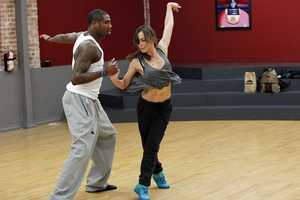 "DANCING WITH THE STARS - REHEARSALS - Jacoby Jones & Karina Smirnoff - This season's dynamic lineup of stars will perform for the first time on live national television with their professional partners during the two-hour season premiere of ""Dancing with the Stars,"" Monday, March 18th @ 8pm. (ABC/Rick Rowell)"