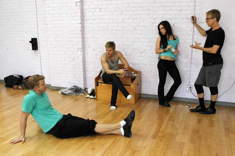 """DANCING WITH THE STARS - REHEARSALS - Sean Lowe, Derek Hough, Sharna Burgess, & Andy Dick - This season's dynamic lineup of stars will perform for the first time on live national television with their professional partners during the two-hour season premiere of """"Dancing with the Stars,"""" Monday, March 18th @ 8pm. (ABC/Rick Rowell)"""