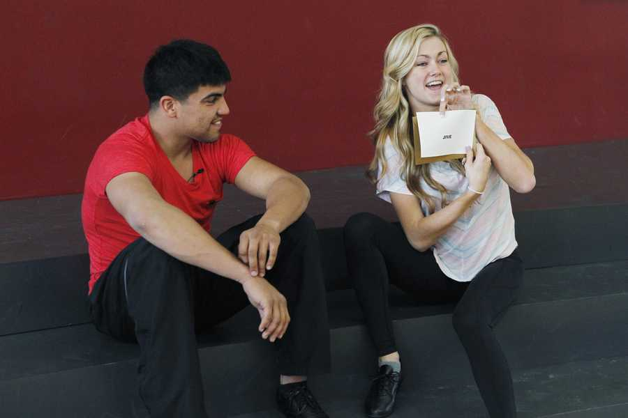 """DANCING WITH THE STARS - REHEARSALS - Victor Ortiz & Lindsay Arnold - This season's dynamic lineup of stars will perform for the first time on live national television with their professional partners during the two-hour season premiere of """"Dancing with the Stars,"""" Monday, March 18th @ 8pm. (ABC/Rick Rowell)"""