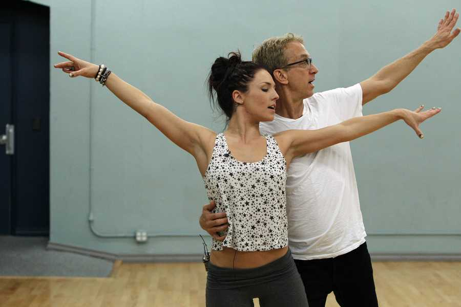 """DANCING WITH THE STARS - REHEARSALS - Sharna Burgess & Andy Dick - This season's dynamic lineup of stars will perform for the first time on live national television with their professional partners during the two-hour season premiere of """"Dancing with the Stars,"""" Monday, March 18th @ 8pm. (ABC/Rick Rowell)"""