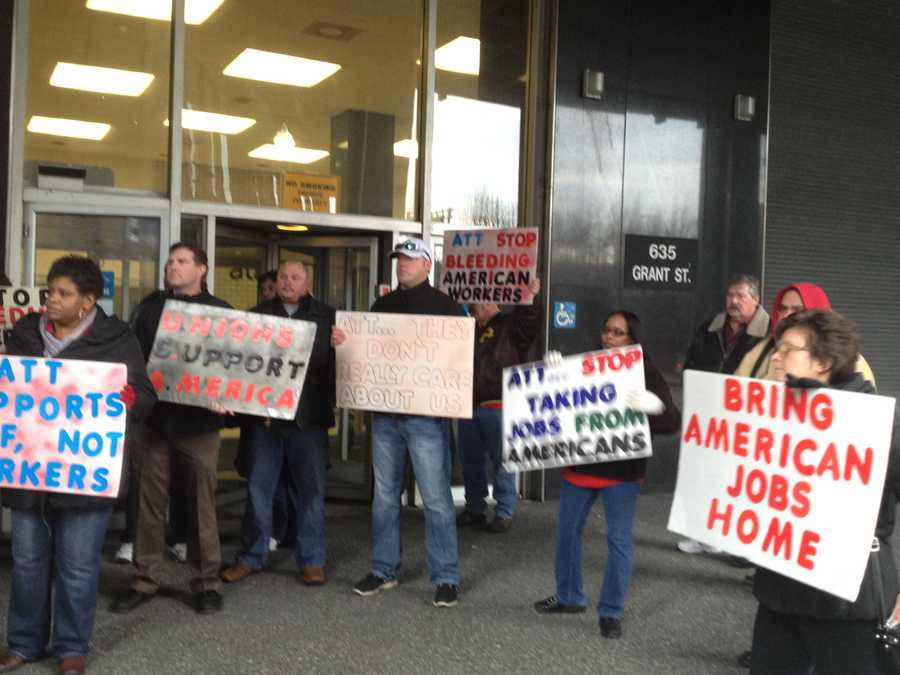 Workers at the PittsburghAT&T call center on Grant Street protested Tuesday morning after the company announced it would cut jobs in the Strip District and tighten its downtown operations. (Video: Watch Amber Nicotra's report.)