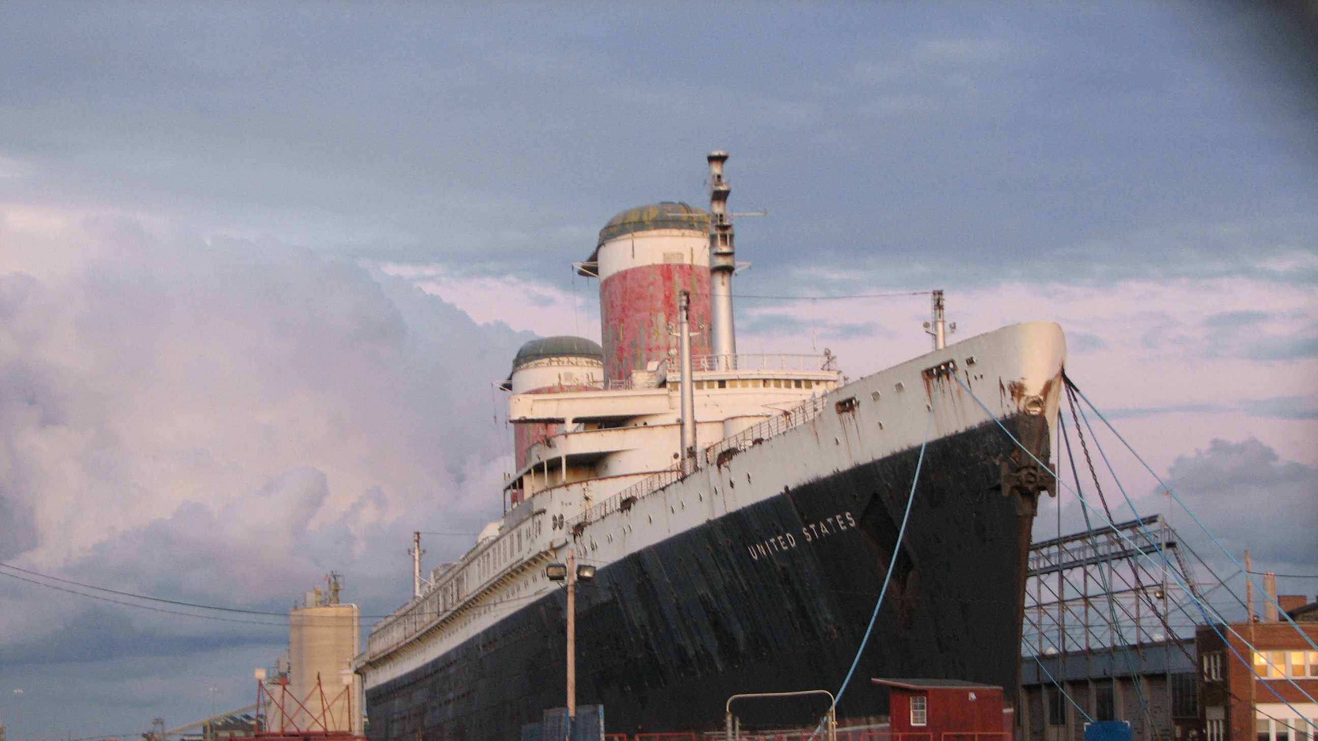 SS United States docked at Philadelphia, PA off of the Delaware River