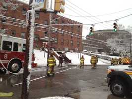 Some people had to be rescued by ladder from an apartment building in East Liberty.
