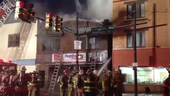 An early morning blaze brought firefighters to Angelina's Pizza on West Liberty Avenue.