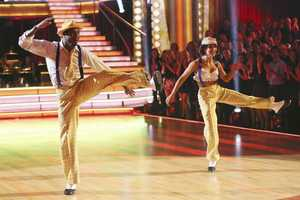 """Jacoby & Karina - The competition heats up on """"Dancing with the Stars"""" as the celebrities take on new dance routines and fight for survival. The couples performed a Jive, Quickstep or Jazz routine. (Photo: ABC/Adam Taylor)"""
