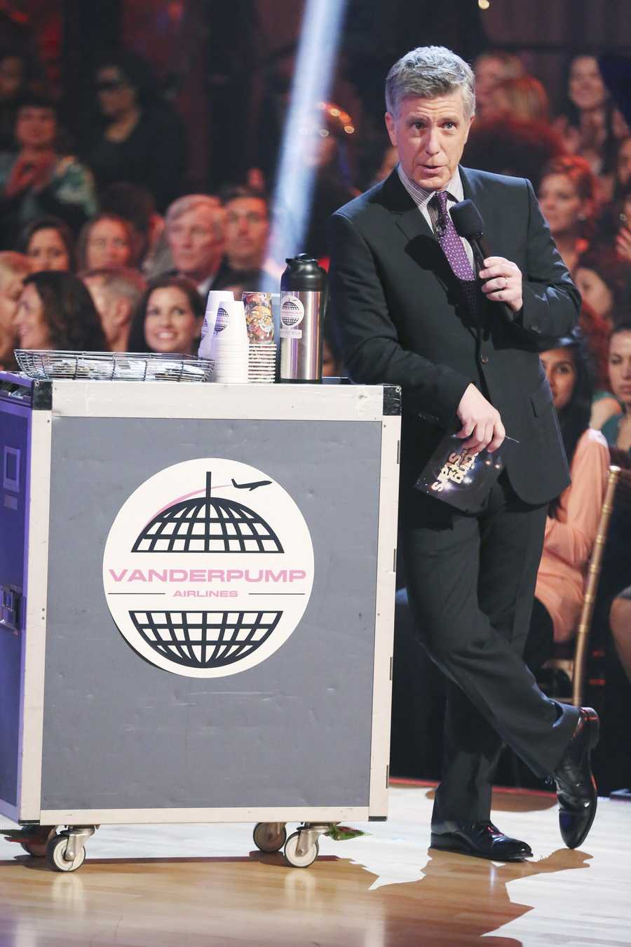 """Tom Bergeon, Host - The competition heats up on """"Dancing with the Stars"""" as the celebrities take on new dance routines and fight for survival. The couples performed a Jive, Quickstep or Jazz routine. (Photo: ABC/Adam Taylor)"""