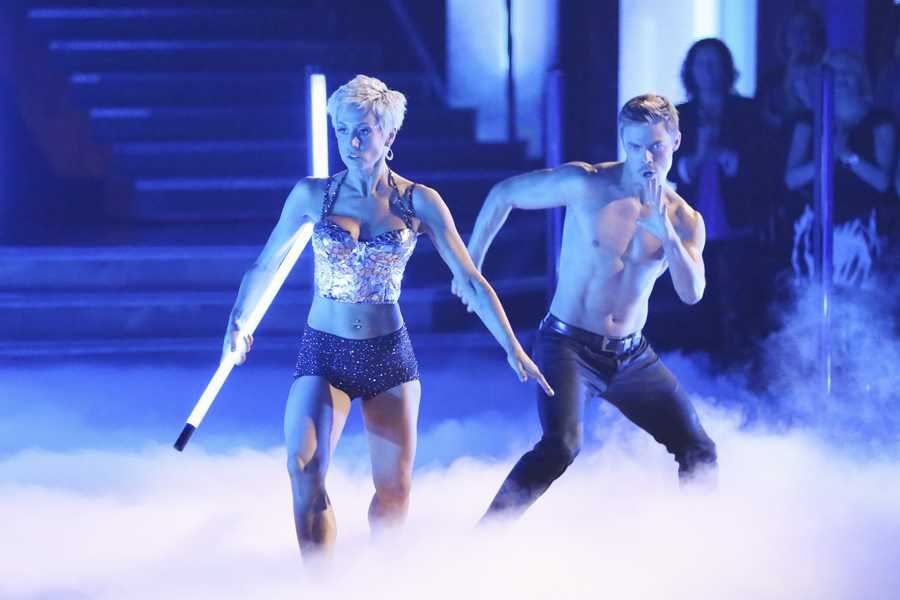 """Kellie & Derek - The competition heats up on """"Dancing with the Stars"""" as the celebrities take on new dance routines and fight for survival. The couples performed a Jive, Quickstep or Jazz routine. (Photo: ABC/Adam Taylor)"""