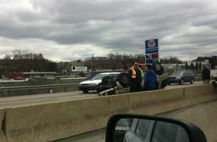 An SUV landed on its roof in the outbound lanes of Interstate 376 in Robinson Township