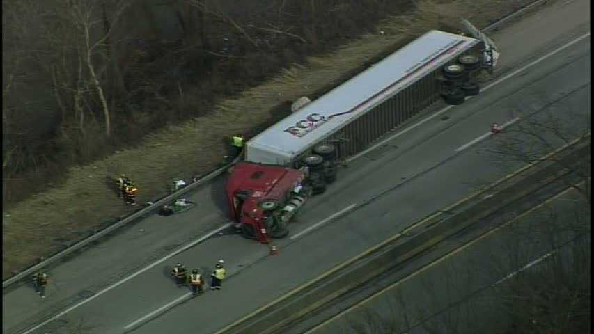 overturned tractor-trailer on turnpike