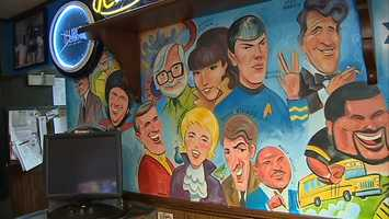 Non-sports celebrities also grace the mural, including Dean Martin, Jimmy Stewart and Zachary Quinto.