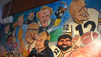 """Several legendary members of the Pittsburgh Steelers, including """"The Chief"""" Art Rooney, Chuck Noll, Jack Lambert, Lynn Swann, Franco Harris and Terry Bradshaw headline the mural."""