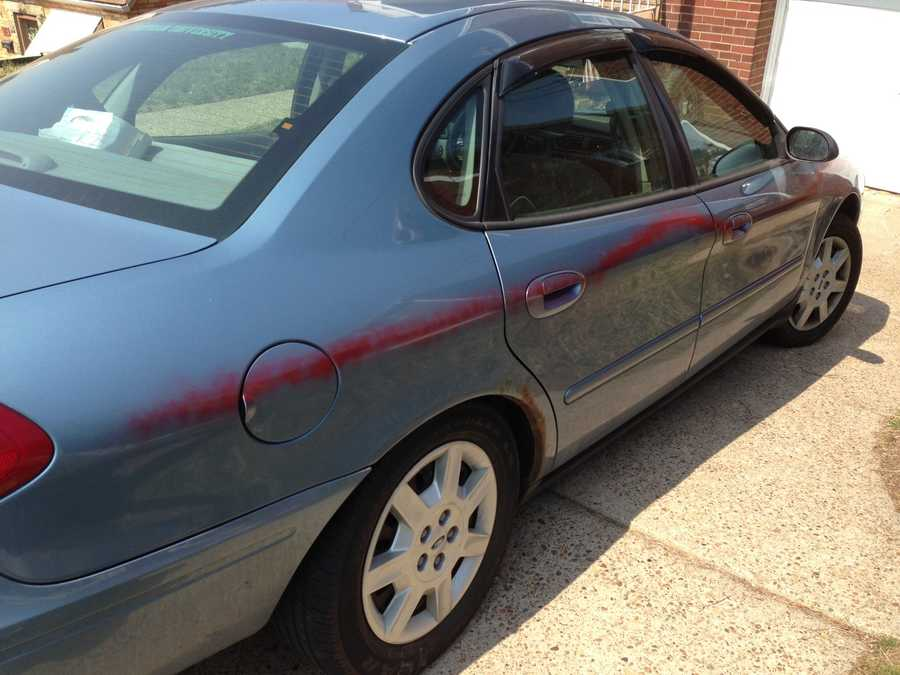 Police said 18 cars were spray painted with a red line on Willock Road and Olancha and Kaufman avenues.