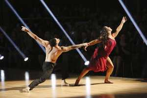 """Aly & Mark - The competition continued as the 10 remaining celebrities celebrated """"The Best Year of Their Life"""" through dance, on Monday, April 8th. Each couple danced to a song of the celebrities' choosing that represents a memorable time or experience in their life. In addition, each celebrity was challenged to perform a brief solo during their performance. (Photo by ABC/Adam Taylor)"""