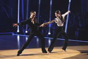 """Zendaya & Val - The competition continued as the 10 remaining celebrities celebrated """"The Best Year of Their Life"""" through dance, on Monday, April 8th. Each couple danced to a song of the celebrities' choosing that represents a memorable time or experience in their life. In addition, each celebrity was challenged to perform a brief solo during their performance. (Photo by ABC/Adam Taylor)"""
