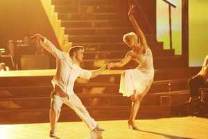 """Kellie & Derek - The competition continued as the 10 remaining celebrities celebrated """"The Best Year of Their Life"""" through dance, on Monday, April 8th. Each couple danced to a song of the celebrities' choosing that represents a memorable time or experience in their life. In addition, each celebrity was challenged to perform a brief solo during their performance. (Photo by ABC/Adam Taylor)"""