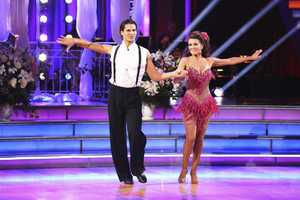 """Lisa & Gleb - The competition continued as the 10 remaining celebrities celebrated """"The Best Year of Their Life"""" through dance, on Monday, April 8th. Each couple danced to a song of the celebrities' choosing that represents a memorable time or experience in their life. In addition, each celebrity was challenged to perform a brief solo during their performance. (Photo by ABC/Adam Taylor)"""