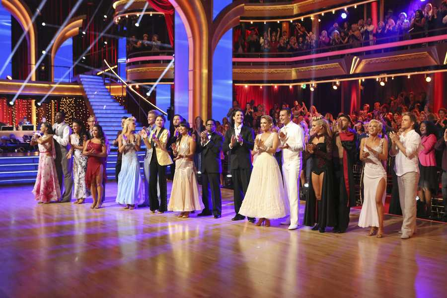 "The Couples at the End of the Night - The competition continued as the 10 remaining celebrities celebrated ""The Best Year of Their Life"" through dance, on Monday, April 8th. (Photo by ABC/Adam Taylor) - Watch the DWTS Music Video featuring Pittbull: Click Here to Watch Now"