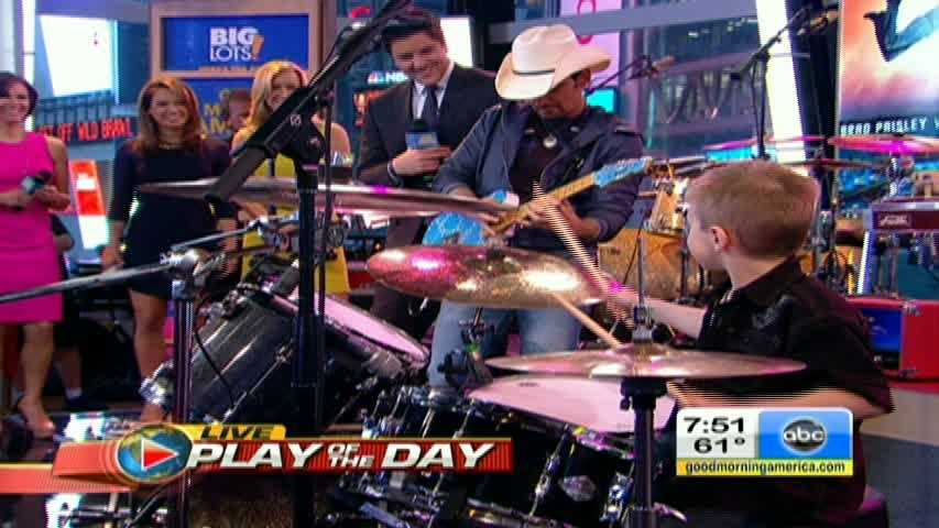 "Avery Molek plays the drums while Brad Paisley plays guitar on ""Good Morning America."""