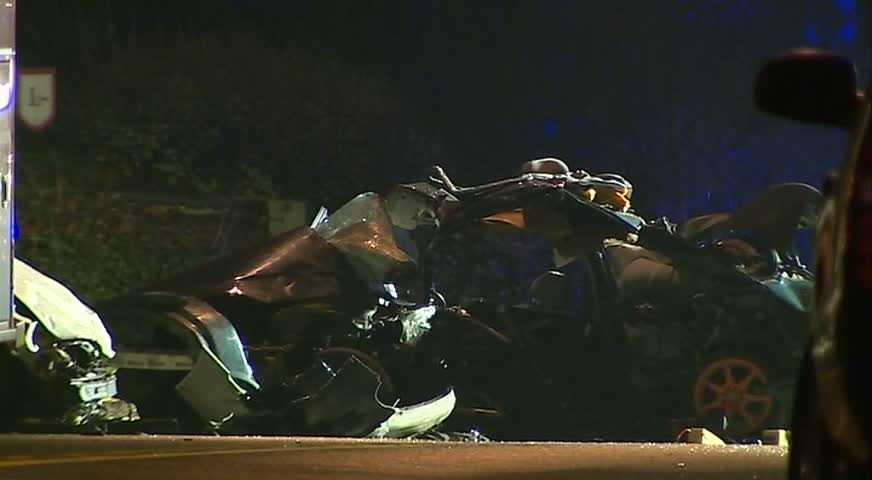 Two young men died when a car skidded into the path of another car on Ohio River Boulevard in Ben Avon.