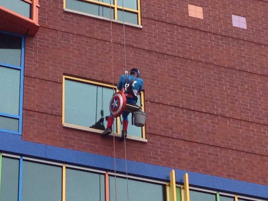 Allegheny Window Cleaning in Springdale Borough donated all of the day's window-washing services and the costumes for the superheroes, who say they plan to return in October.