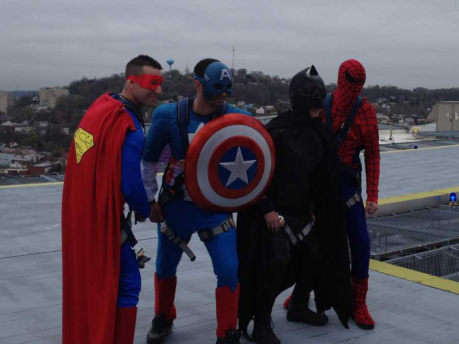 Superman, Captain America, Batman and Spider-Man took to the skies to entertain kids at Children's Hospital of Pittsburgh.