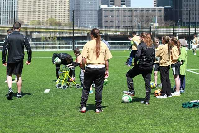 "The Pittsburgh Riverhounds soccer team held a ""Special Kick Clinic"" at Highmark Stadium on Sunday."