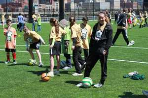 Children from the Watson Institute signed up and got to work on various soccer practice drills.
