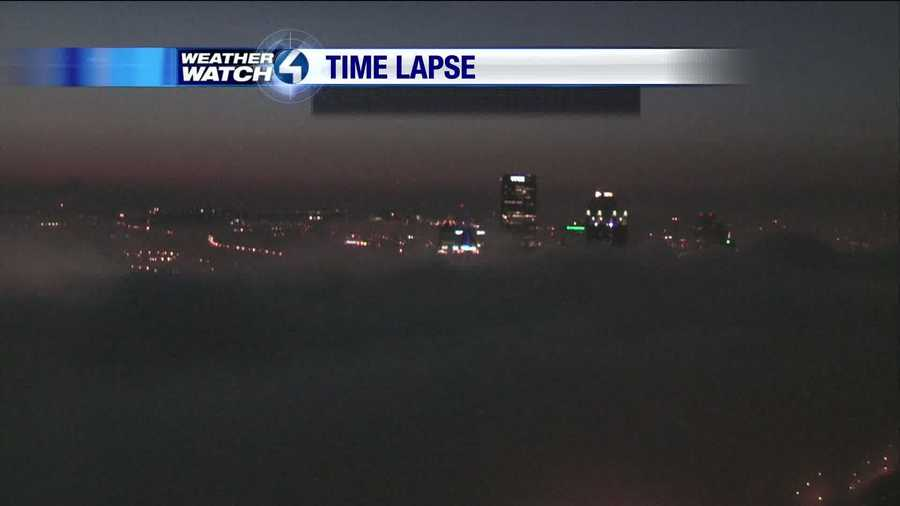 The fog continues to roll in as the night goes on.