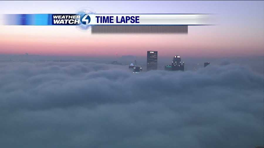 There's the U.S. Steel Tower peeking out from the thick downtown fog.