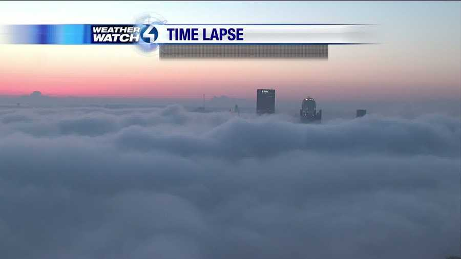 The sun begins to rise, giving us some great shots of the fog.