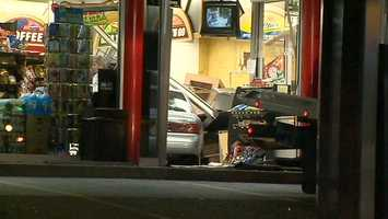 A tow truck was needed to remove a car after it crashed and ended up inside a Sunoco APlus convenience store in Oakland.