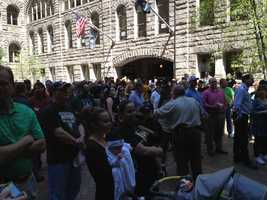 "The ""Annihilate the Islanders"" rally was held in the courtyard of the Allegheny County Courthouse on a beautiful spring day."