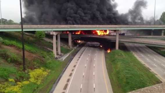 Our sister station WGAL sent us this video of a tanker fire on Interstate 81 from one of their viewers.  The flames cover large areas of the interstate