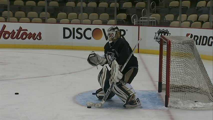 Penguins goaltender Tomas Vokoun is practicing for Game 5 against the Islanders.